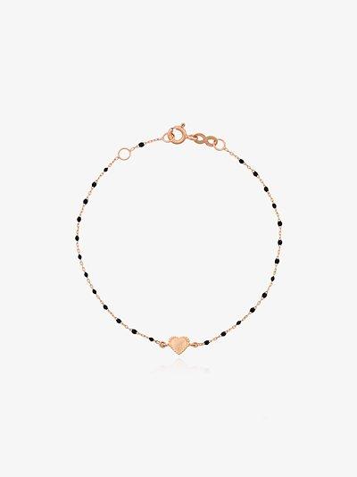 18K rose gold Heart 17 CM beaded bracelet