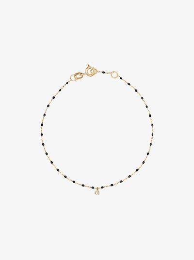 18K yellow gold 17 CM beaded diamond bracelet
