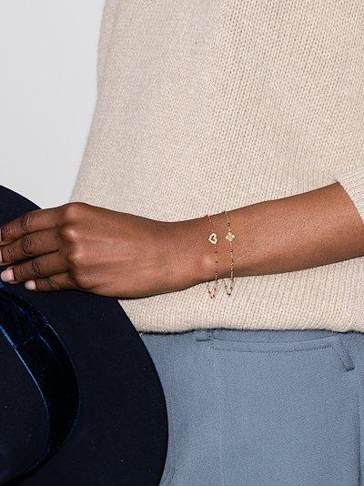 18K yellow gold Lucky Clover Classic Gigi 17 CM diamond bracelet