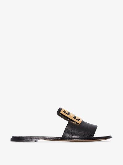 Black 4G leather flat sandals