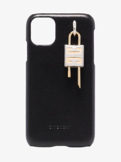 black 4G padlock leather iPhone 11 case
