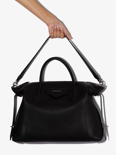 black Antigona soft medium leather tote bag