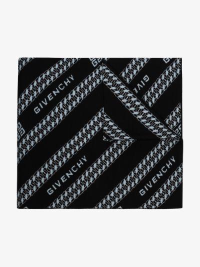 black chain logo jacquard wool scarf