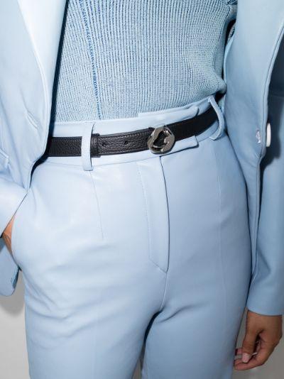 black G chain buckle leather belt