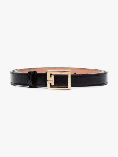 Black GV3 leather logo belt
