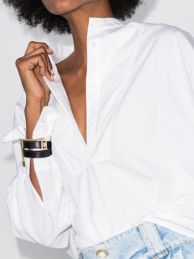 Black leather chain wrap bracelet