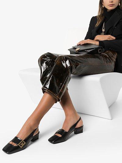 Black Mystic logo 50 leather slingback pumps