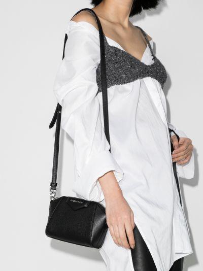 Black Nano Antigona leather cross body bag
