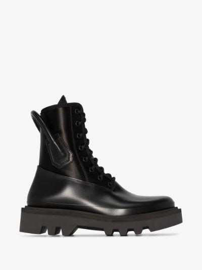 black panelled combat boots