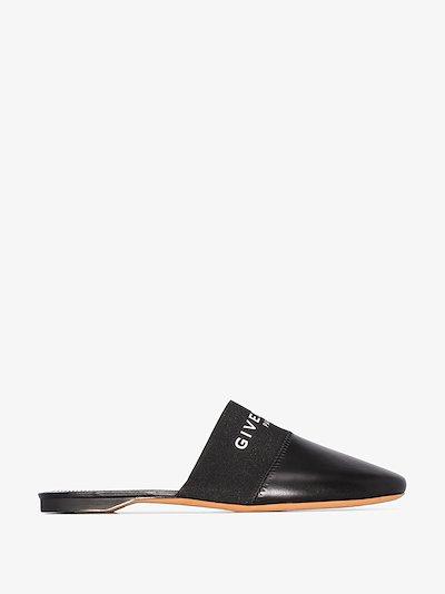 black Paris logo leather slippers