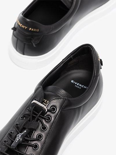 black speed lacing urban leather sneakers