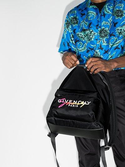black Urban Sunset signature logo print backpack