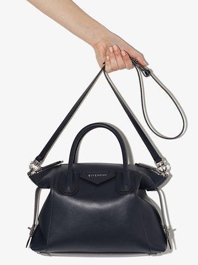 blue Antigona Soft small leather tote bag