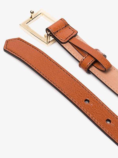 Brown GV3 leather logo belt