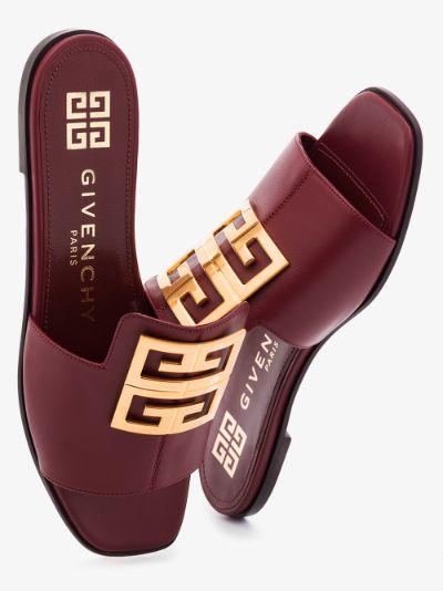 burgundy 4G leather sandals