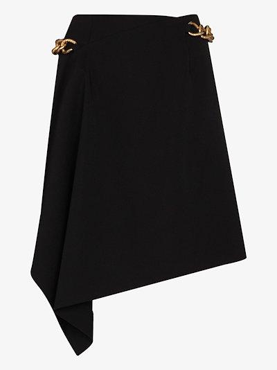 chain asymmetric wrap mini skirt