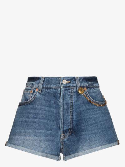 chain detail denim shorts