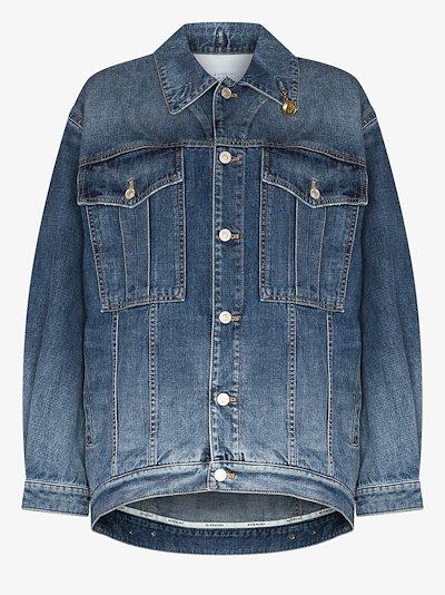 chain detail oversized denim jacket