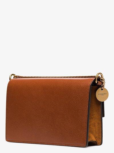 chestnut brown GV3 mini leather and suede shoulder bag