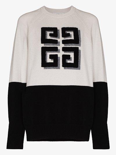 contrasting logo cashmere sweater