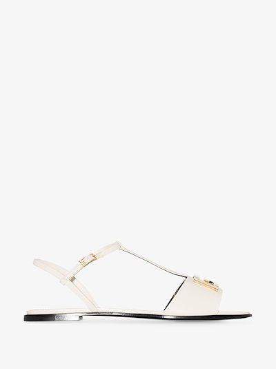 cream Mystic T-bar leather sandals
