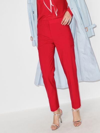 cropped slim leg wool trousers