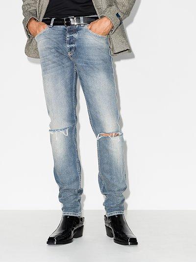 distressed straight leg jeans