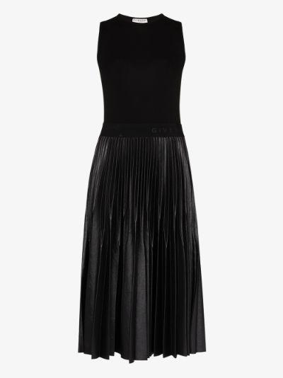 faux leather pleated midi dress