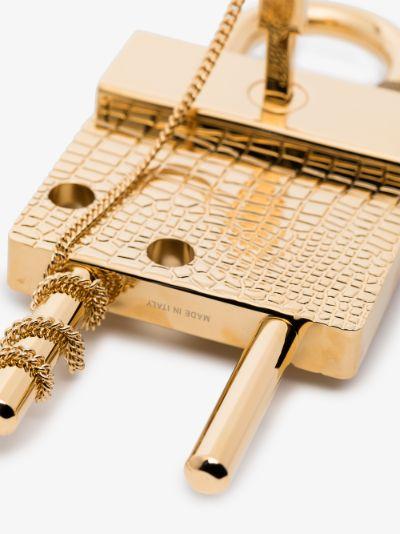 gold tone large mock croc logo padlock