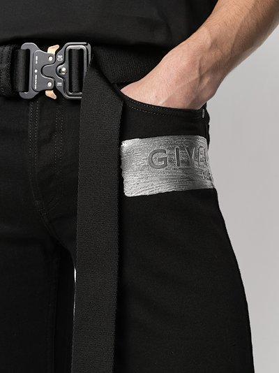 latex logo skinny jeans
