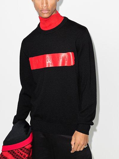 logo band wool sweater