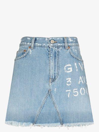 logo print denim mini skirt