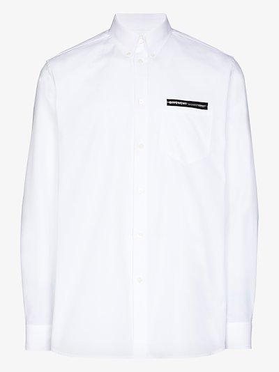 logo tape cotton shirt