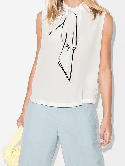 logo tie neck silk blouse