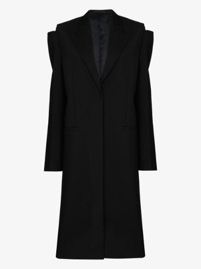 long cutout wool coat