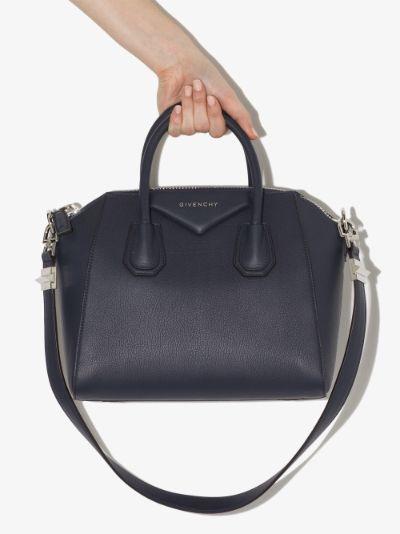 Navy Antigona Small Leather Tote Bag