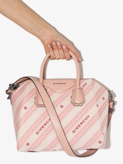 Pink Antigona small canvas tote bag