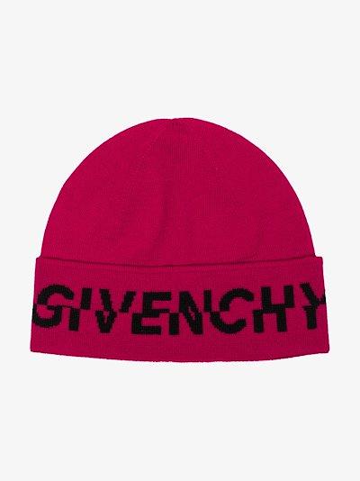 Pink logo wool beanie hat