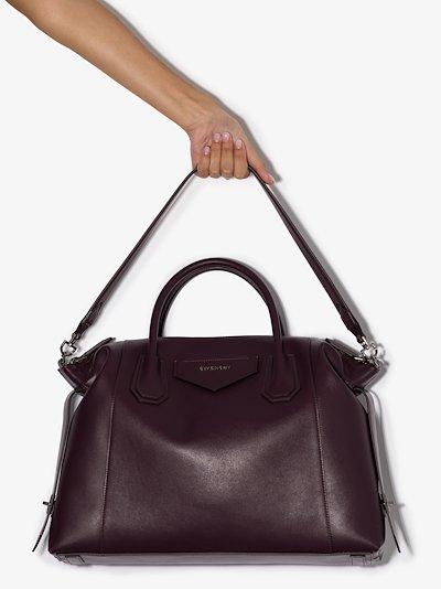 purple Antigona soft medium leather tote bag