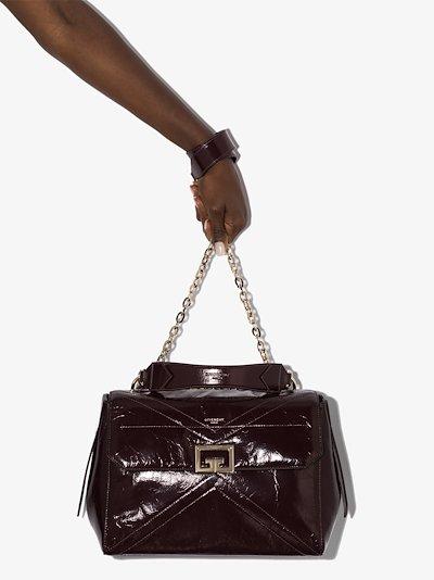 purple ID medium leather shoulder bag