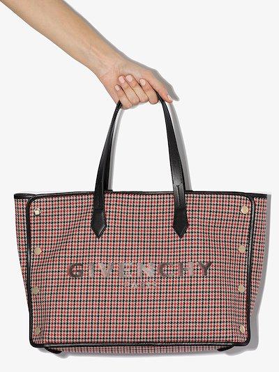 red and black Bond medium houndstooth tote bag