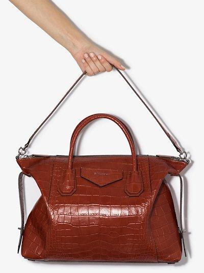 red Antigona Soft medium leather tote bag