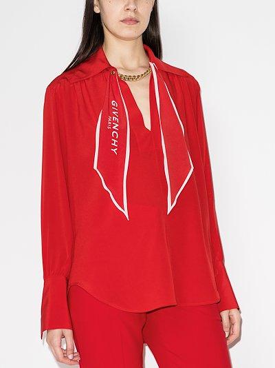 scarf collar silk blouse