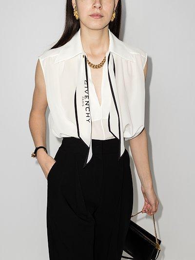 scarf collar sleeveless silk blouse