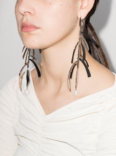 Silver tone feather pearl drop earrings