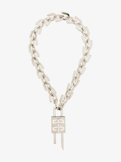 Silver tone G lock necklace