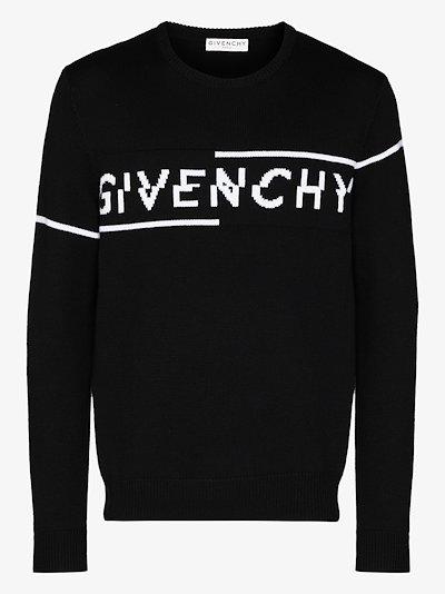 split logo wool sweater