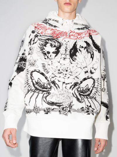 tattoo print oversized hoodie