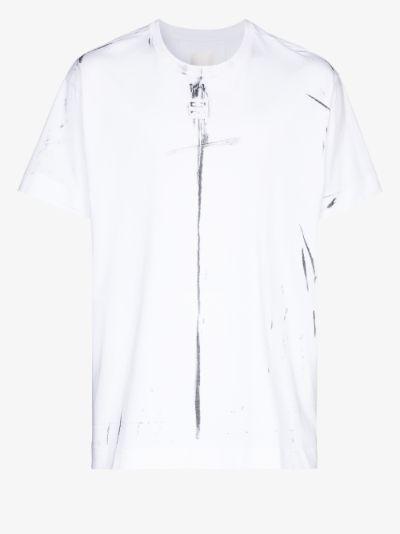 trompe-l'œil logo print T-shirt
