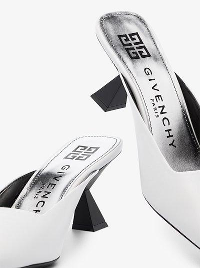 White 70 asymmetric heel leather mules